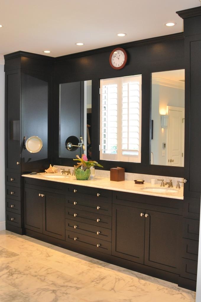 Custom bathroom cabinets by Dunlap Construction