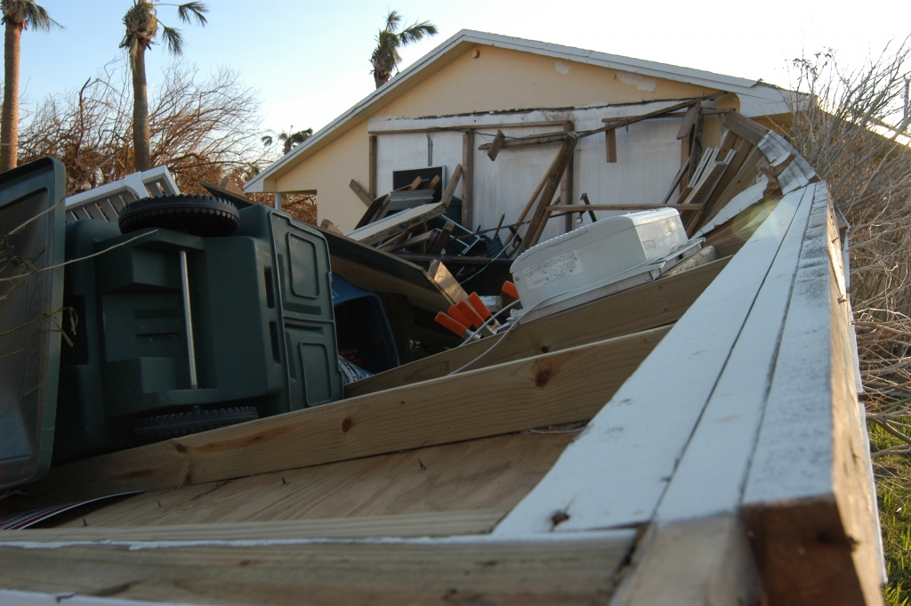 Vero Beach, FL, September 27, 2004 -- The walls of this garage collasped due to the winds of Hurricane Jeanne. FEMA Photo/Mark Wolfe