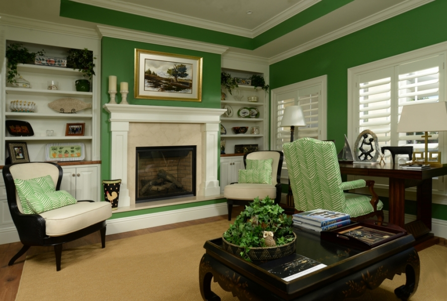 green room with fire place remodel in Vero Beach Florida in Riomar