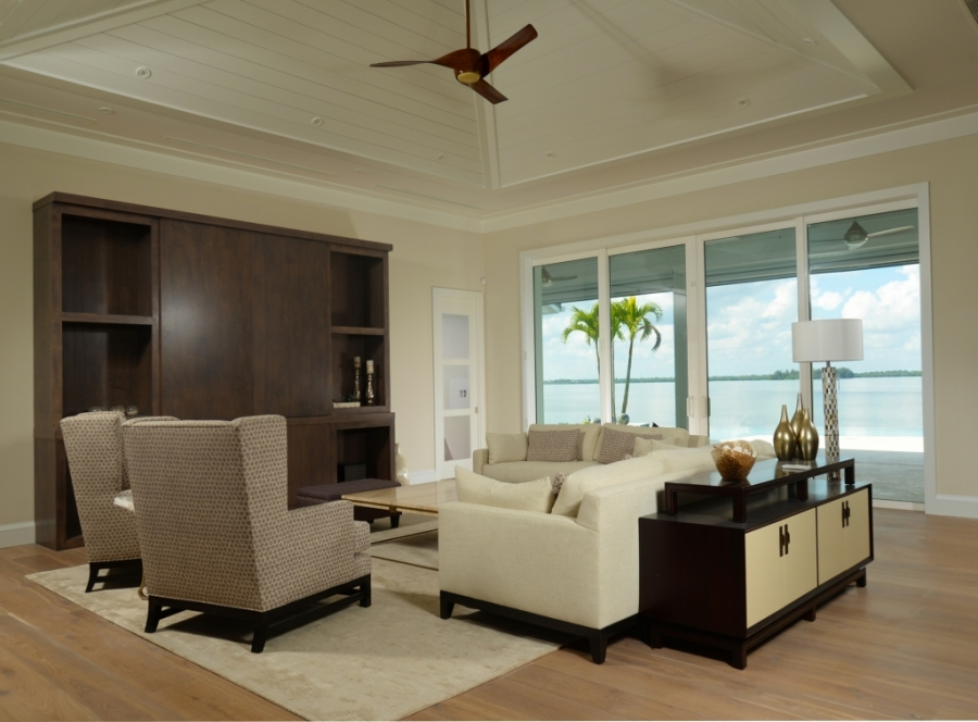 white living room with pyramid ceiling in The Moorings - Vero Beach, FL